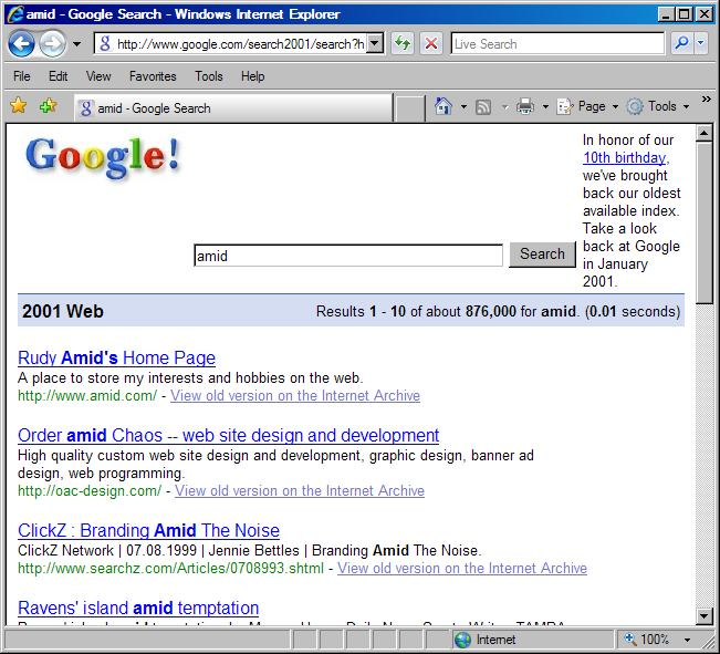 Google 2001 search for